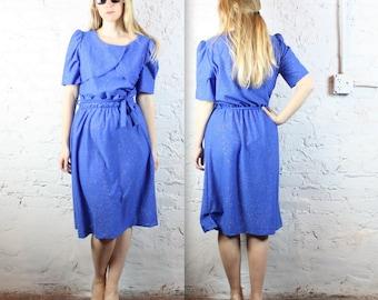 80s Blue Glitter Drape Dress in Women's Large Plus Size Vintage Fashion Waist Belt Sash Sparkle Cocktail Formal Prom Gown Party Elegant