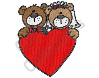 Wedding - Machine Embroidery Design, Bride and Groom, Heart