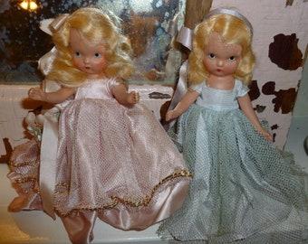 Vintage Pair Of Sweet Nancy Ann Storybook Dolls 1940's