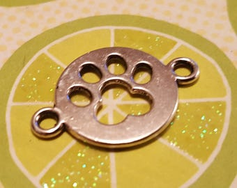 Paw Print Charms - 10 pcs. - Paw Print Links - Silver Paw Prints - Silver Dog Charms - Cat Charms --  Dog Paw Charm  - Cat Paw Charm