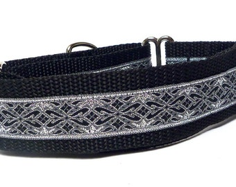 Martingale collar, OLD ENGLISH, dog collar, black and silver metallic, Greyhound Collar, Sighthound Collar, Adjustable, training collar