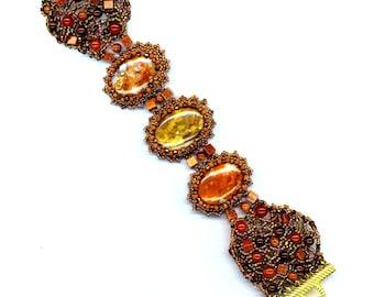 Beadwoven Beaded Bracelet . Agate Cabochon Cuff . Freeform Beadwork . Carnelian Goldstone Bracelet- Agate Bracelet by enchantedbeads on Etsy
