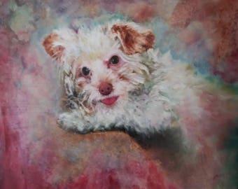 Sunny, Original oil painting, Dog oil portrait painting, Animal art portrait painting
