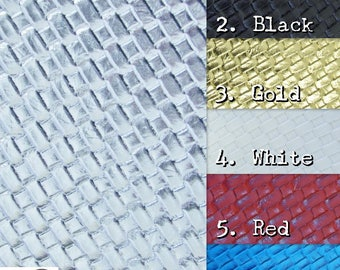 Lattice Basket Weave Upholstery Vinyl Fabric - 6 COLORS - By The Yard Embossed PU Leather Accessories