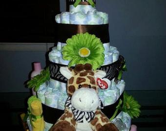 Baby Diaper Cake- Safari Theme