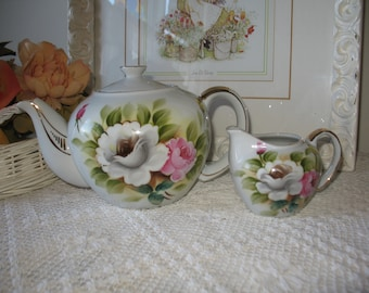 Teapot and cream pot Kashmir rose, handpainted Japan.piece collection.