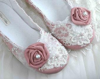 Wedding Shoes - Rose Bridal Ballet Flat, Vintage Lace, Swarovski Crystals, Pearls, Custom Made Women's Bridal ShoesFrom pink2blue