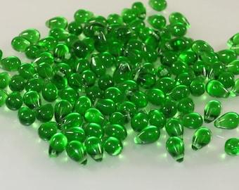 6 X 9 mm transparent grass green glass teardrop-Bin# 69