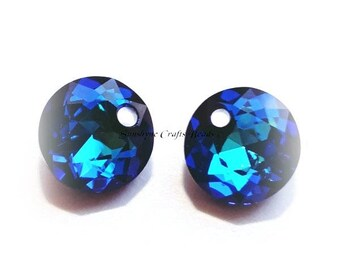 Swarovski Crystal Beads 2pcs 6430 CRYSTAL BERMUDA BLUE 8mm Round Classic Cut Pendant, faceted crystal,6430 drop