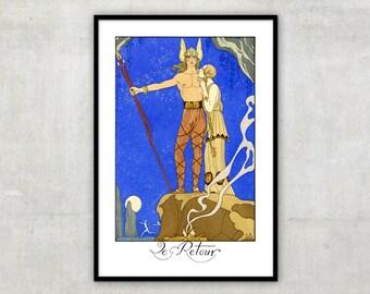 """Art Deco print vintage style fashion illustration, """"Le Retour"""" by George Barbier, IL083."""