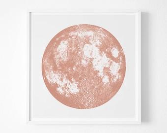 Copper Moon Print, Wall Art, Full Moon large print,  space, stars ,silver bright stellar poster,metallic gold ink, la luna lunar art