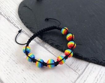 Kids Rainbow Bracelet, Kids Beaded Bracelet, Rainbow Bracelet, Kids Bracelet, Kids Jewellery, Macramé Bracelet, Kids Fashion Jewellery, Gift
