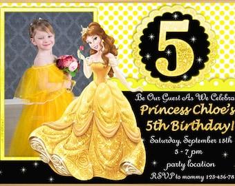 SALE Beauty and the Beast Invitation, Beauty and the Beast birthday Invitation, Princess Belle birthday invitation,  - Digital file