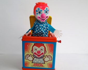 Vintage Mattel Jack in the Box 1976 Musical Pop Up Clown Pop Goes the Weasel