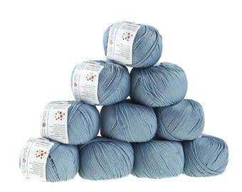 10 x 50g knitted yarn cotton gem #521 Dove Blue