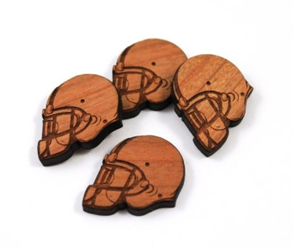 Laser Cut Supplies-8 Pieces.NFL Helmet Charms - Laser Cut Wood Football -Earring Supplies- Little Laser Lab Sustainable Wood Products