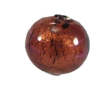 1 round chocolate Lampwork bead - 8 mm