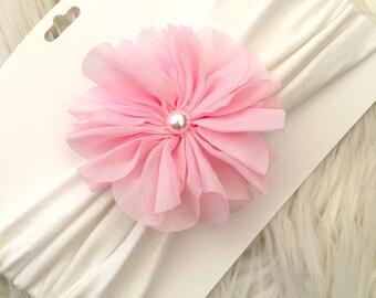 Wide fabric headband light pink flower, fabric baby headband, large flower headband, girls wide fabric headband, baby pink flower headband