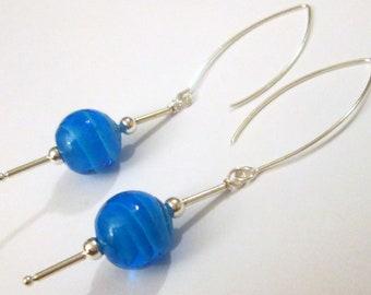 Pierced Earrings Blue Swirl Glass long drop Gift For Her unique design pierced dangle handmade earrings by Ziporgiabella