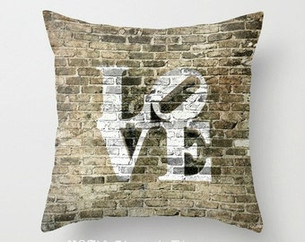 "LOVE PHILLY STYLE. 16x16"" Pillow Cover. Photo Art, TMCdesigns. Urban. Bricks. Wedding, Anniversary Gift. Romance. Philadelphia. Graffiti."
