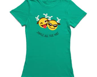 Jungle All The Way Christmas Reindeer Emoticon Women's Kelly Green T-shirt