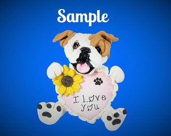 English Bulldog I LOVE YOU heart sculpture Polymer Clay art by Sallys Bits of Clay