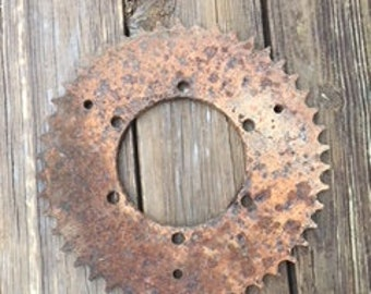 "Vintage Rusty 11 3/8"" Sprocket/Steampunk/Industrial"