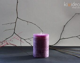 "Handmade Large Rustic Pillar Candle Dark Lilac 85 x 120mm (3.34 x 4.72"")"