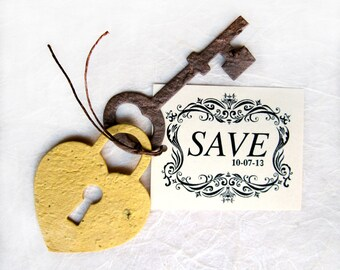 50+ Plantable Lock and Key Save the Date Cards - Flower Seed Paper Locks and Keys Wedding Favor