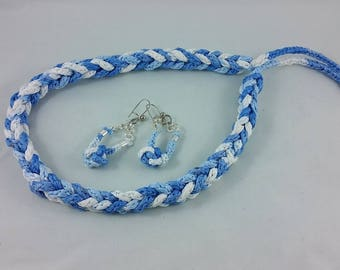 Necklace + Earrings: shades of blue and white; braided necklace; geek jewelry