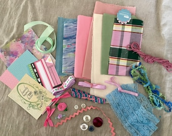 Vintage to New Ephemera / Mixed Media Grab Bag / Scrapbook Collage Journaling / Altered Art / Wedding Lace Buttons / Fabric Trim Notions