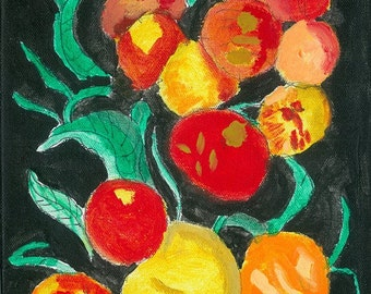 8 x 10 inch Bright Fruit Acrylic on canvas