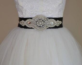 Black Bridal Sash | Rhinestone Crystal Wedding Dress Sash | Belt | Beaded Applique Sashes | Ribbon Sash Bridesmaids