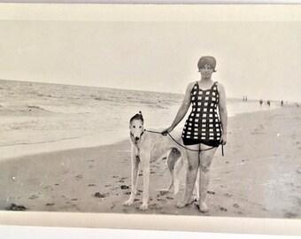 "Vintage Photo ""Stylish Beach and Pup"" Snapshot Antique Black & White Photograph Paper Found Ephemera Vernacular Interior Design Mood - 104"