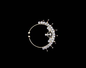 Medium~ Faux Nose Ring - Gold Color w/ Crimson Glass, No Chain - New Era Bohemian, tribal fusion, india jewelry