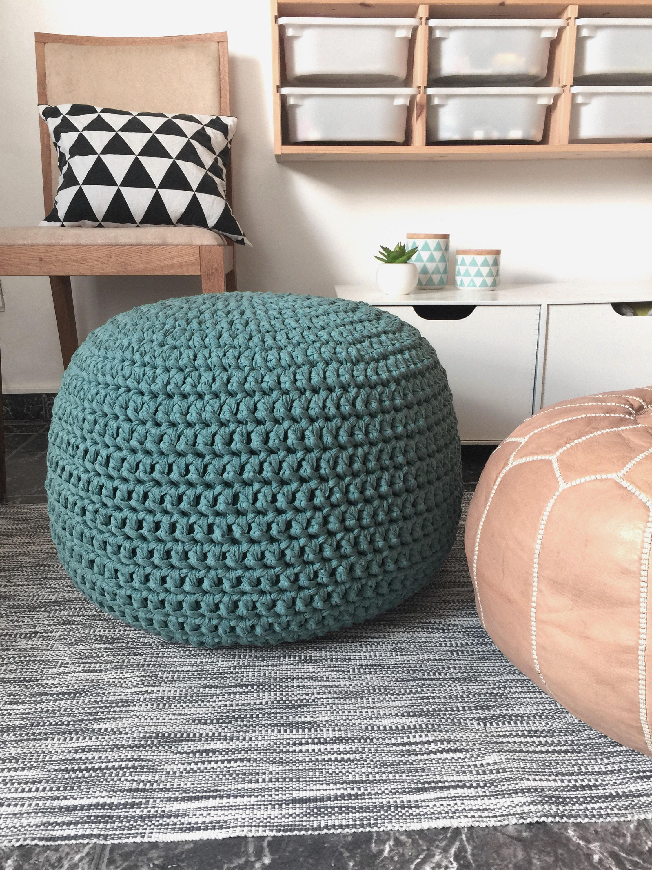 Teal Large Floor Pillow Pouf Ottoman Footstool Nursery