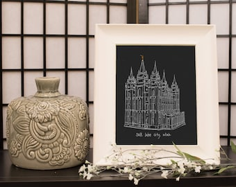 Salt Lake City Utah LDS Temple Instant Download Hand drawn sketch