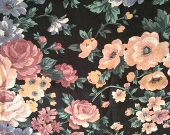 Large Floral Print Cotton Fabric 1 1/2 Yards X0672