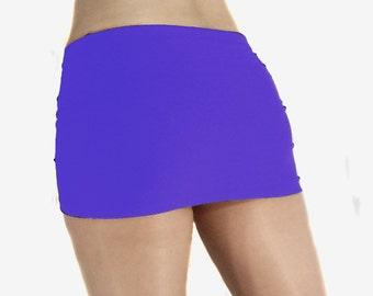 Purple spandex micro mini skirt