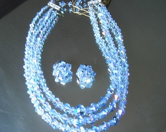 Vintage Blue Crystal Necklace and Earring Set Aurora Borealis 1950's