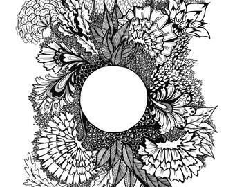 B & W Floral Circle Print