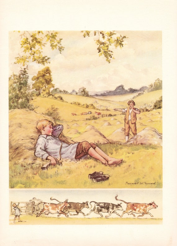 "Illustration of nursery rhyme ""Little Boy Blue"" by Margaret Tarrant, 12 x 9 inches, 1950 book illustration"