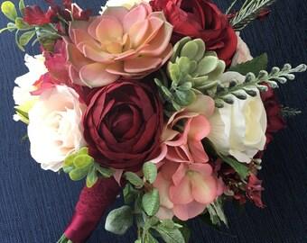 Wedding Bouquet, Bridal Bouquet, Blush & Burgundy Wedding Flowers, Silk Floral Bouquet, Blush and Burgundy Bouquet, Succulent Bouquet