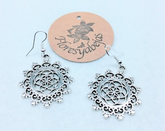 Silver earrings with the seed of life