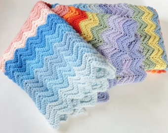 1 Rainbow Chevron Stripe Crochet Afghan - SALE - Baby Blanket, Crib Throw, Cover, Blanket, Yellow, Orange, Pink, Red, Green, Blue, Purple