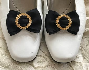 Vintage Black Bow Shoe Clips. Fancy Grosgrain Ribbon Bow with Gold Circle Centers. 1950s 1960s Shoe Accessories. Special Occasion Weddings
