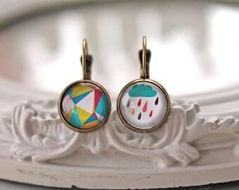 Mismatched rain cloud and geometric pattern leverback earrings sweet lolita feminine French hooks