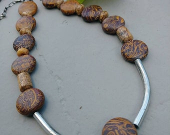 Wood Bead Necklace with Silver Detail