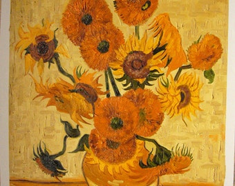 100%handpainted van gogh Sunflowers in a Vase oil painting reproduction for home decor wall art