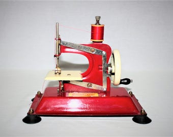 Vintage 1950s Gateway Junior Model NP-1 Toy Sewing Machine, Bright Red, Made in the USA